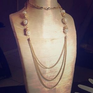 Jewelry - VTG RUNWAY HIGH END PEARL GOLD TONE MULT NECKLACE